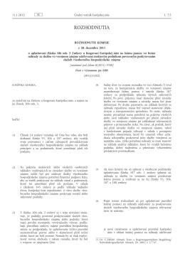 Rozhodnutie Komisie z 20.12.2011 o uplatňovaní článku 106 ods. 2