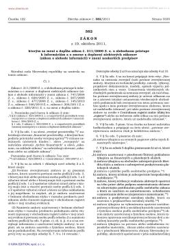 Zákon č. 382 z 19. októbra 2011, ktorým sa mení a dopĺňa zákon č