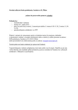 stredoškolské - Stredná odborná škola podnikania, Sasinkova 45
