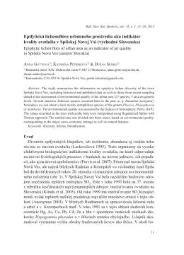 Epifytická lichenoflóra urbánneho prostredia ako indikátor kvality