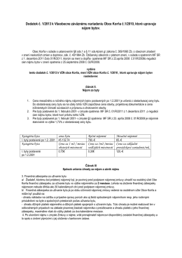 Dodatok č. 1/2013 k Všeobecne záväznému nariadeniu Obce Korňa