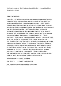 Vyhlásenie starostov obcí Miloslavov, Dunajská Lužná a Most pri