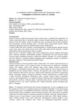 Zápisnica zo zasadnutia celoslovenskej komisie pre hodnotenie