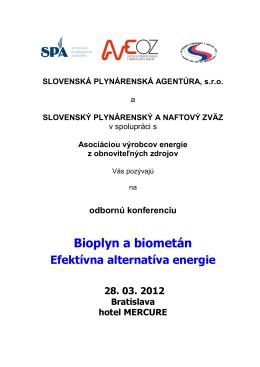 Pozvánka na konferenciu - Slovenská plynárenská agentúra, sro