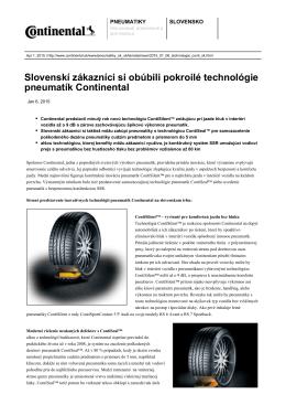 Slovenskí zákazníci si obúbili pokroilé technológie pneumatík
