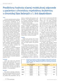 Prediktívna hodnota včasnej molekulovej odpovede u pacientov s