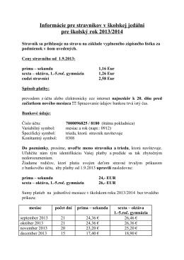 Informácie pre stravníkov v školskej jedálni pre školský rok 2013/2014