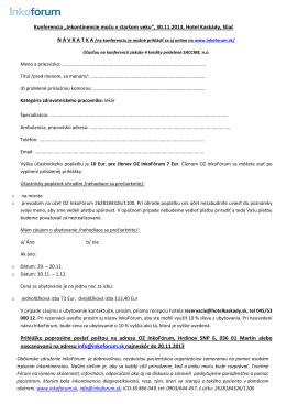 """Konferencia """"Inkontinencie moču v staršom veku"""", 30.11.2013, Hotel"""