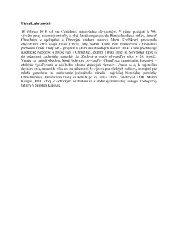 Utekali, aby zostali 15. február 2015 bol pre Chmeľnicu mimoriadne