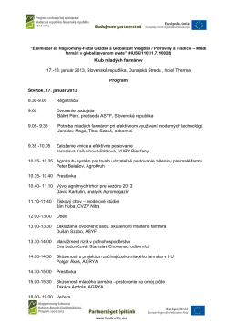 Klub mladých farmárov 17.-18. január 2013, Slovenská republika