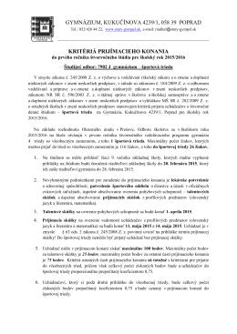 gymnázium, kukučínova 4239/1, 058 39 poprad kritériá prijímacieho
