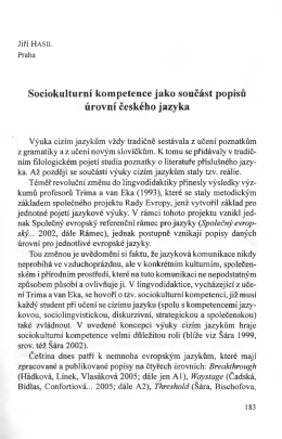 Sociokulturni kompetence jako soućast popisu urovm ćeskeho jazyka