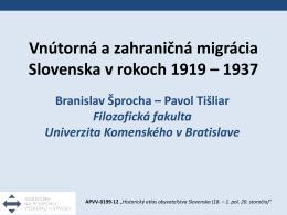 Vnútorná a zahraničná migrácia Slovenska v rokoch 1919 – 1937