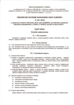 VZN č. 02/2012 o záväzných častiach Územného plánu Obce Zuberec