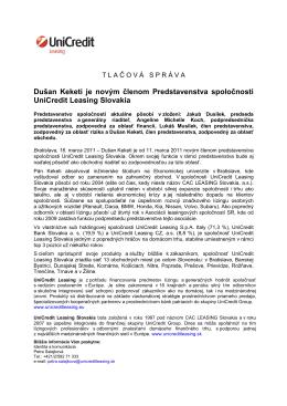 Nový člen Predstavenstva spoločnosti UniCredit Leasing Slovakia