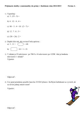 Prijímacie skúšky z matematiky do prímy v školskom roku 2012/2013