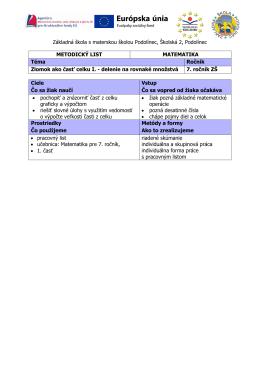 metodické listy - Základná škola s materskou školou PODOLÍNEC