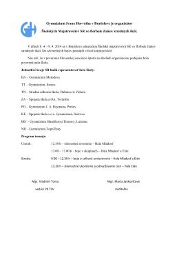 Gymnázium Ivana Horvátha v Bratislave je organizátor Školských