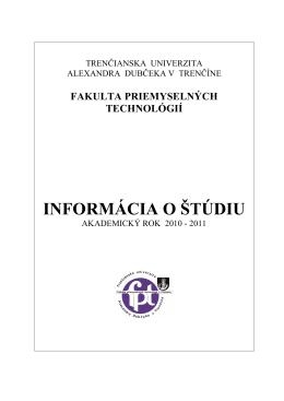 Informácia o štúdiu 2010/2011 - Trenčianska univerzita Alexandra