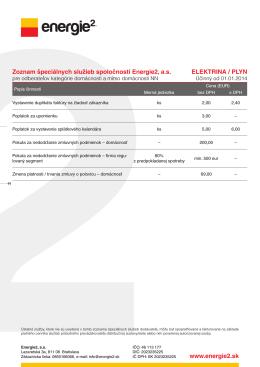 www.energie2.sk Zoznam špeciálnych služieb spoločnosti Energie2