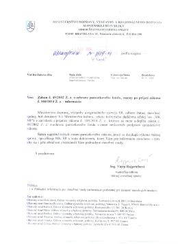 podľa rozpisu - Vec: Zákon č. 49/2002 Z. z. o ochrane pamiatkového