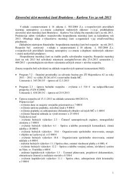 Záverečný účet mestskej časti Bratislava – Karlova Ves za rok 2013