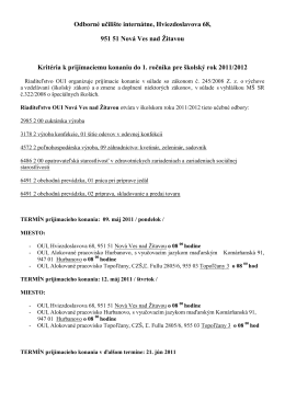 Odborné učilište internátne, Hviezdoslavova 68, 951 51 Nová Ves
