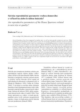 Václav, R. 2010. Súvisia reprodukčné parametre vrabca domového