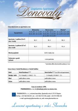 Cena stravy v hoteli Residence a v hoteli Galileo PHARMAEDUCA