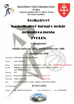 Trojkráľový basketbalový turnaj o pohár primátora mesta ZVOLEN