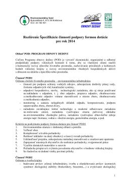 Rozšírenie Špecifikácie činností podpory formou dotácie pre rok 2014