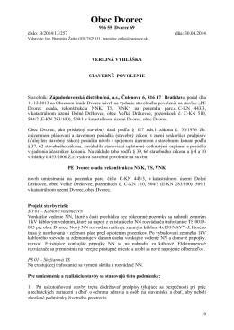 """Stavebné povolenie """"PE Dvorec osada – rekonštrukcia, NNK, TS, VNK"""