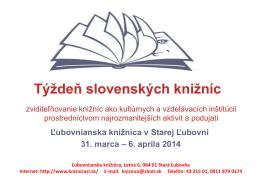 Týždeň slovenských knižníc - Ľubovnianska knižnica v Starej Ľubovni