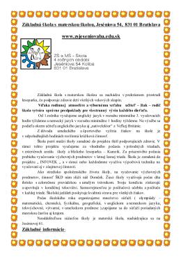Základná škola s materskou školou, Jeséniova 54, 831 01 Bratislava