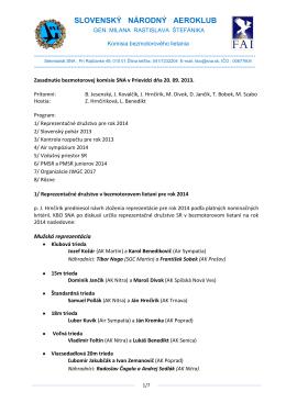 Zápis zo zasadnutia bezmotorovej komisie dňa 20.09.2.013 v Prievidzi
