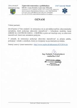 Viac info - Liptovská nemocnica s poliklinikou MUDr. Ivana Stodolu
