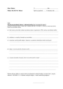 Návrh na povolenie zmeny v užívaní stavby (bez stavebných úprav)