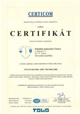 vydfva Fakultnf nemocnica Trnava 9I7 75 Trnava Slovensk6 republika