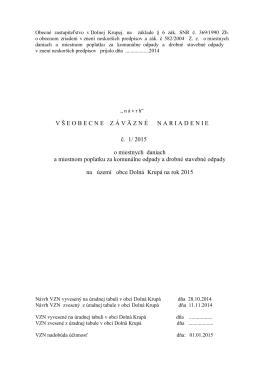 Návrh VZN vyvesený na úradnej tabuli v obci Jaslovské Bohunice dňa: