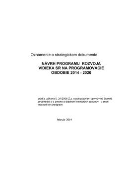 Návrh programu rozvoja vidieka SR na programovacie obdobie 2014