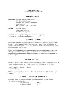 Zmluva č.02/2015 o využívaní priestorov telocvične I. ZMLUVNÉ