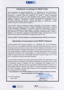 React Declaration of Accession – ByvaPro, s.r.o.