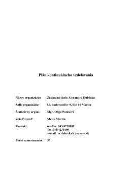 Plán kontinuálneho vzdelávania - Základná Škola Alexandra Dubčeka