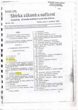 Zbierka zákonov štátu československého z roku 1924, podpísaná