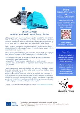 e-Learning Fitness inovatívny prostriedok v oblasti fitness v Európe