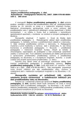 Valentína Trubíniová: Dejiny predškolskej pedagogiky. 1. diel