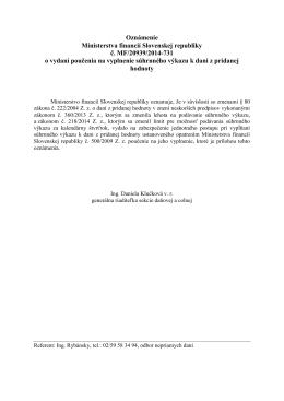 Oznámenie Ministerstva financií Slovenskej republiky č. MF/20939