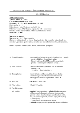 Propozície hal. turnaja – Športová Hala Močenok U11 25.1.2014