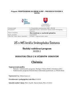 Dodatok č.2 Nórsky projekt - ZŠ s MŠ kráľa Svätopluka Šintava