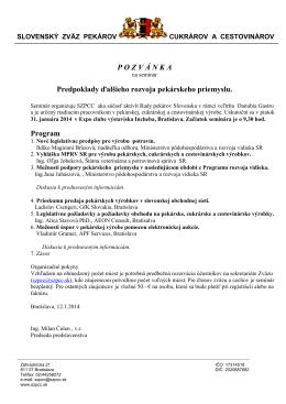 Viac info - Cech pekárov a cukrárov regiónu západného Slovenska